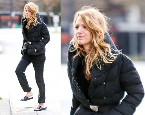 blake Blake Lively in ciabatte sul set