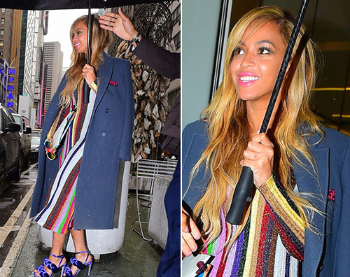 Beyonce Beyonce outfit colorato a New York