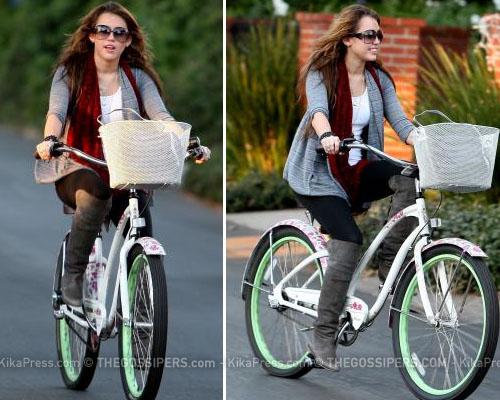 mileybici Miley Cyrus preferisce la bicicletta
