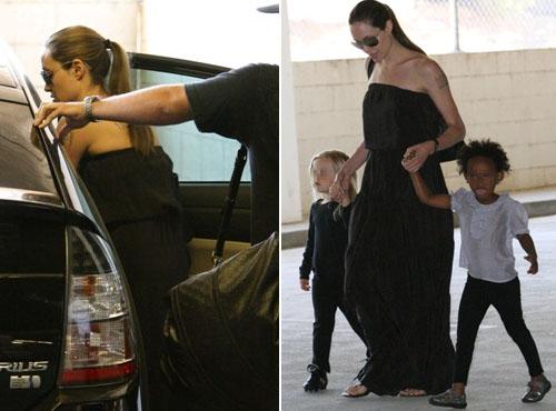 angie bimbe Angelina Jolie con Shiloh e Zahara