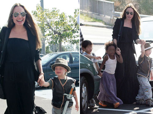 angelinabimbi Angelina porta i figli al Toys R Us