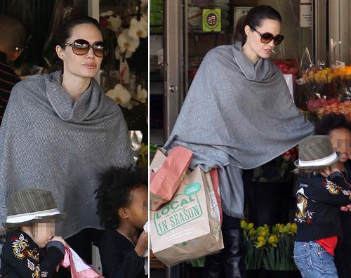 angelina figlie Angelina fa la spesa con le figlie