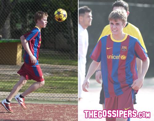 justin bieber bar a Justin Bieber con la maglia del Barcellona