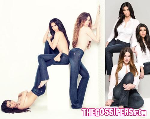 kardashian jeans Kim, Kourtney e Khloe Kardashian in topless per un paio di jeans