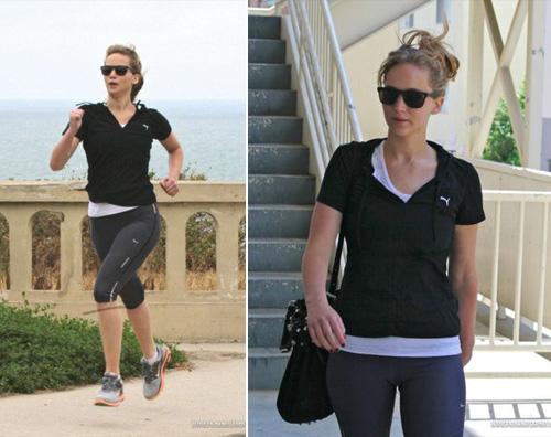 jennifer jogging Jennifer Lawrence si tiene in forma correndo