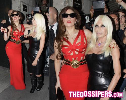 donatella gaga Donatella Versace accoglie Lady GaGa a Milano