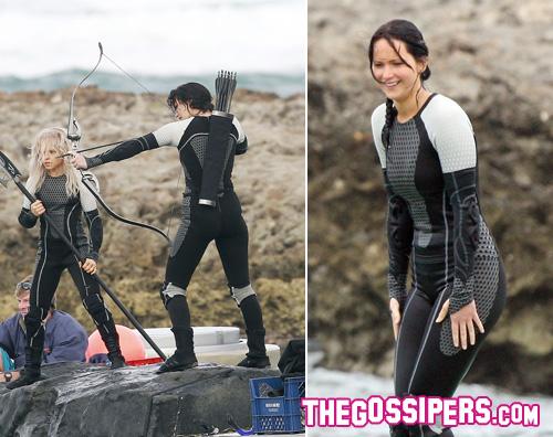jennifef2 Jennifer Lawrence al lavoro per Catching Fire