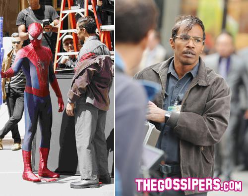 jamiefoxx2 Andrew Garfield e Jamie Foxx sul set del nuovo Spiderman