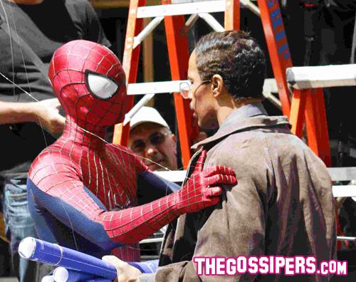 uomoragno Andrew Garfield e Jamie Foxx sul set del nuovo Spiderman