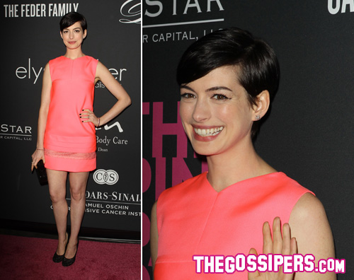 pink anne2 Anne Hathaway regina del Pink Party