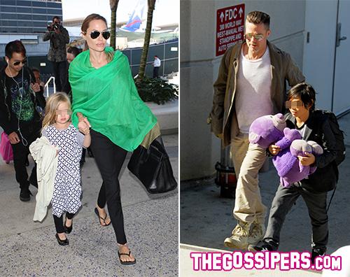 Angelina e Bred Angelina Jolie e Brad Pitt tornano a Los Angeles con i bambini