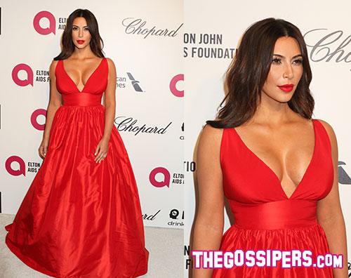 kim2 Kim Kardashian scollatissima al party di Elton John