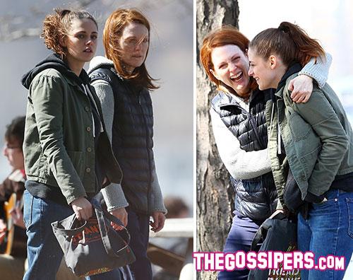 stewart moore2 Kristen Stewart e Julianne Moore sul set di Still Alice