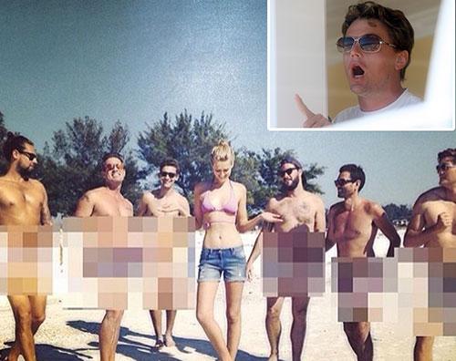 toni La ragazza di Leo Di Caprio circondata da uomini nudi