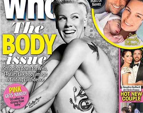 Pink Pink nuda sulla cover di Who Magazine
