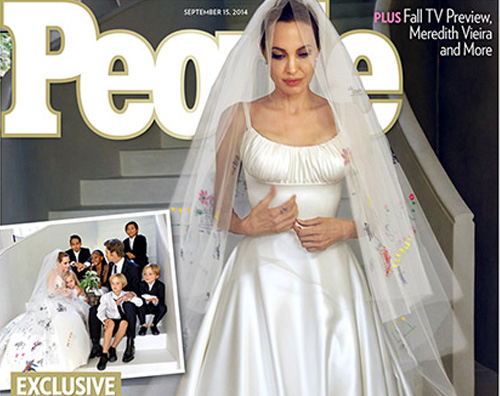 angelina abito sposa Il guadagno di Brad e Angelina per le foto del matrimonio