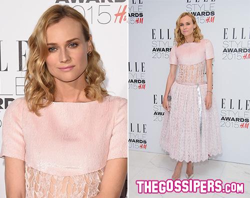 Diane Kruger2 Diane Kruger in rosa per gli Elle Style Awards 2015