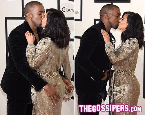 Kim e Knaye Madona, Kanye West e Kim Kardashian: lo show sul red carpet dei Grammy