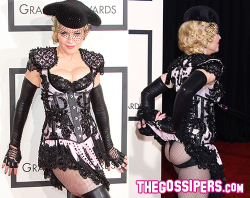Madonna1 Madona, Kanye West e Kim Kardashian: lo show sul red carpet dei Grammy