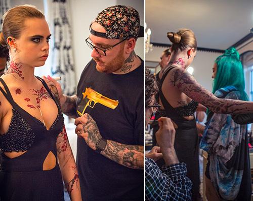 Cara Delevingne I tatuaggi fake di Cara Delevingne ai Met Gala 2015