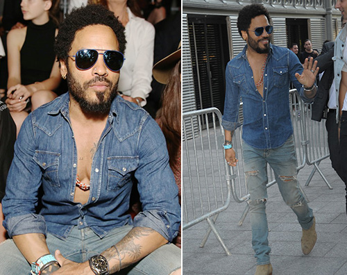 Lenny Kravitz Lenny Kravitz look in denim per Saint Laurent