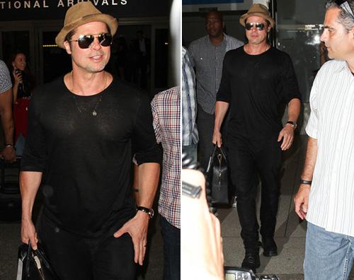 Brad Pitt Brad Pitt in total black al LAX