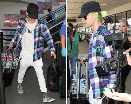 Jared Leto Jared Leto, capelli verde fluo a LAX