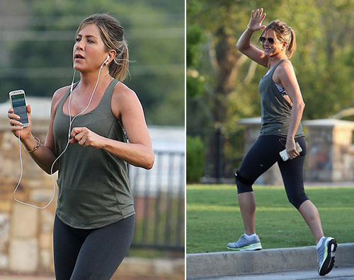 Jennifer Aniston Jennifer Aniston fa jogging sul set di Mothers Day