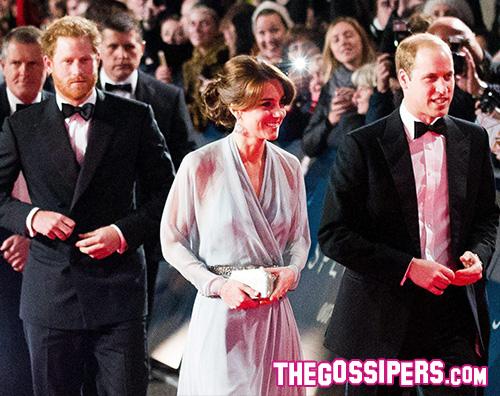 Kate Harry William Kate Middleton arriva alla premiere di Spectre