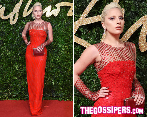 LadyGaga Lady Gaga abito rosso per i British Fashion Awards
