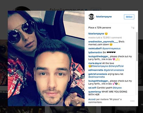 Liam Payne Cheryl Liam Payne e Cheryl, selfie di coppia su Instagram