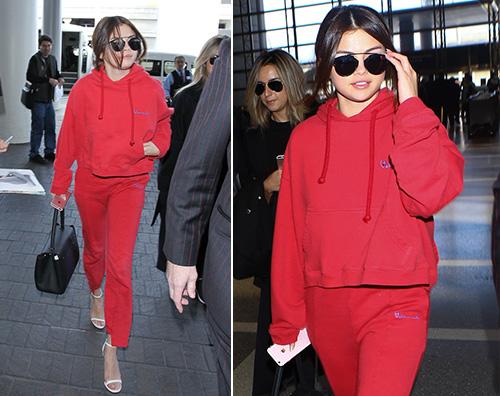 Selena Gomez Selena Gomez tuta rossa e tacchi a spillo al LAX