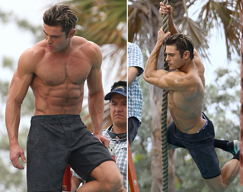 Zac Efron 1 Zac Efron come Tarzan sul set di Baywatch