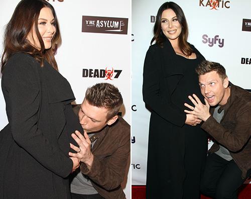 Nick Carter Nick Carter bacia il pancione di Lauren alla premiere di Dead 7