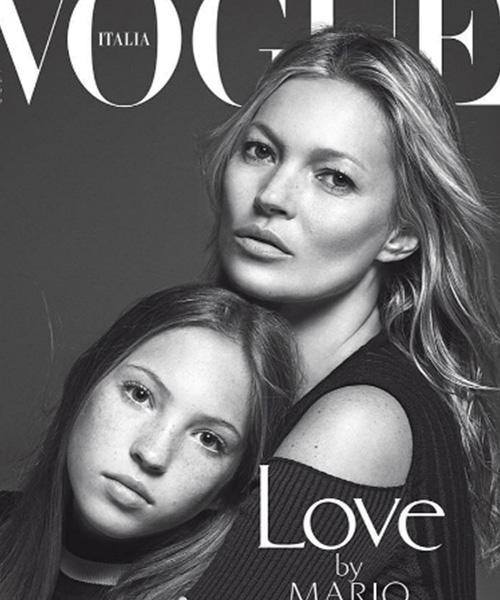 Vogue Kate Moss sulla cover di Vogue Italia con Lila Grace