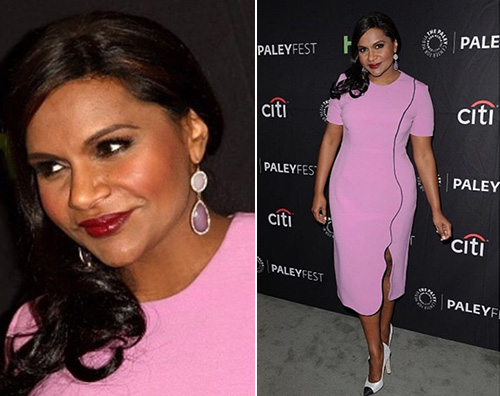 Mindy Mindy Kaling in rosa a Beverly Hills