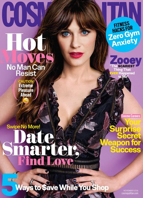 Zooey Deshanel 2 Zooey Deschanel stilosa sulla cover di Cosmopolitan