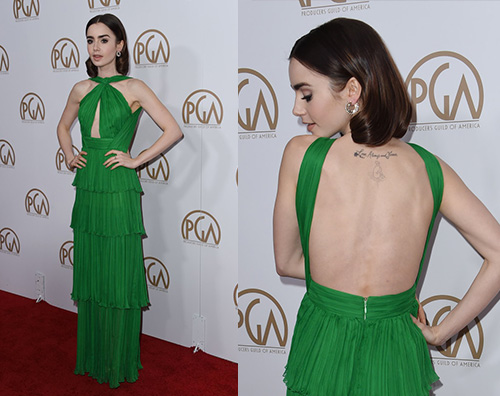 Lily Collins 3 Lily Collins in verde per i Producers Guild Awards 2017