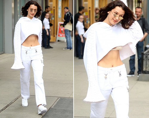 Bella Hadid Bella Hadid, passeggiata con lingerie a vista