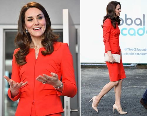 Kate Middleton 1 Kate Middleton in rosso per l inaugurazione della Global Academy