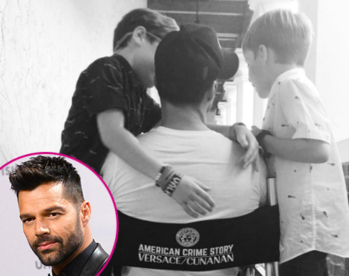 Ricky Martin 1 I gemelli fanno visita a Ricky Martin sul set