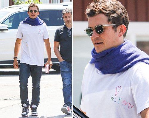 Orlando Bloom Orlando Bloom e la t shirt dedicata a Flynn