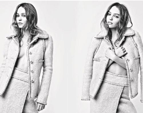kikapress orizzontale copia Lily Rose Depp in topless per Chanel