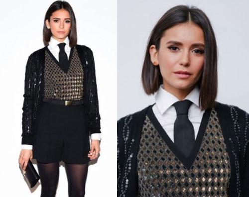 Nina Dobrev Nina Dobrev, paillettes e cravatta per la fashion week