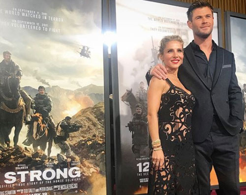 "Chris Elsa Chris Hemsworth ed Elsa Pataky presentano ""12 Strong"" a New York"