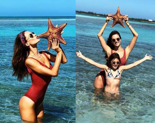 Ales Alessandra Ambrosio alle Bahamas con la sua famiglia