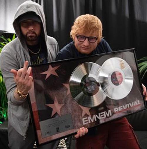 Eminem Ed Sheeran Il selfie leggendario di Eminem, Ed Sheeran e 50 Cent