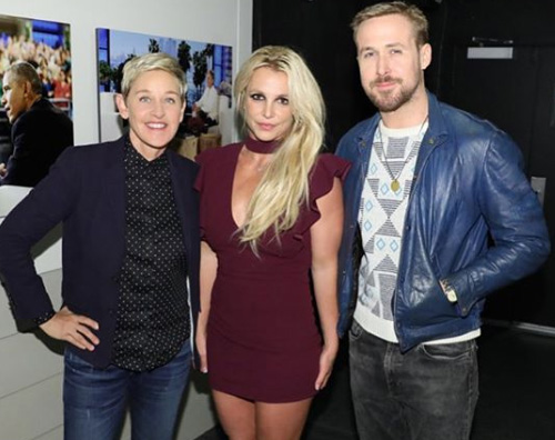 Britney e Ryan Ryan Gosling e Britney Spears, reunion da Ellen DeGeneres