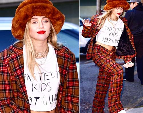Miley Cyurs Miley Cyrus sceglie il tartan a New York