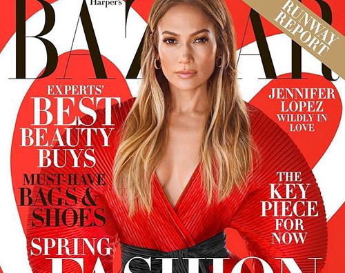 jlo Jennifer Lopez in rosso su Harpers Bazaar